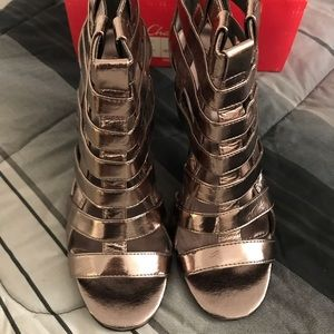 Pewter heeled sandals size 9